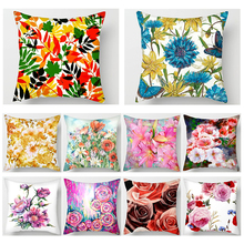 Fuwatacchi Flower Oil Painting Cushion Cover Plant Rose Sunflower Throw Pillows Home Sofa Chair Decorative Case