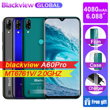 Blackview a60 pro smartphone 4080mah bateria 6.088 waterwatertela de waterdrop 3gb ram 16gb rom android 9.0 4g telefone móvel a60pro