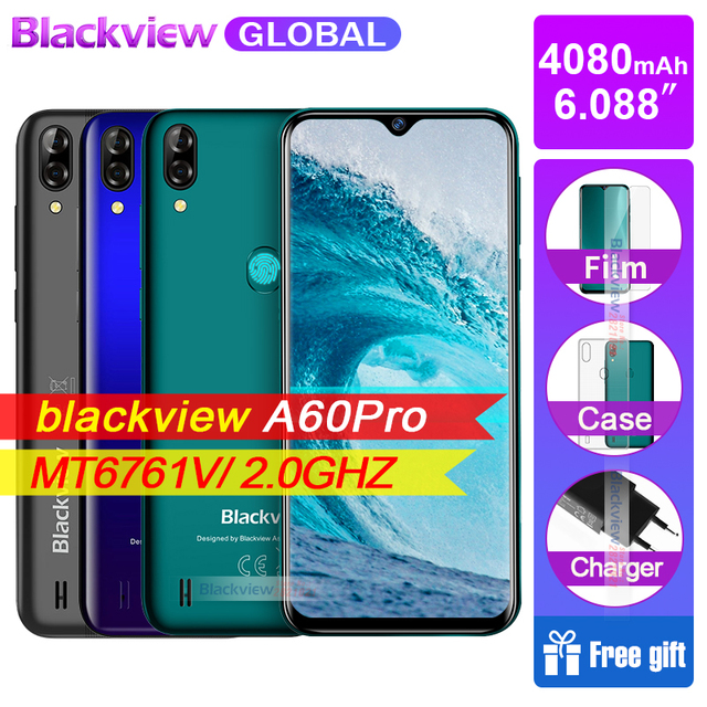 US $93 67 |Blackview A60 Pro Smartphone 4080mAh Battery 6 088'' Waterdrop  Screen 3GB RAM 16GB ROM Android 9 0 4G Mobile phone A60PRO-in Cellphones
