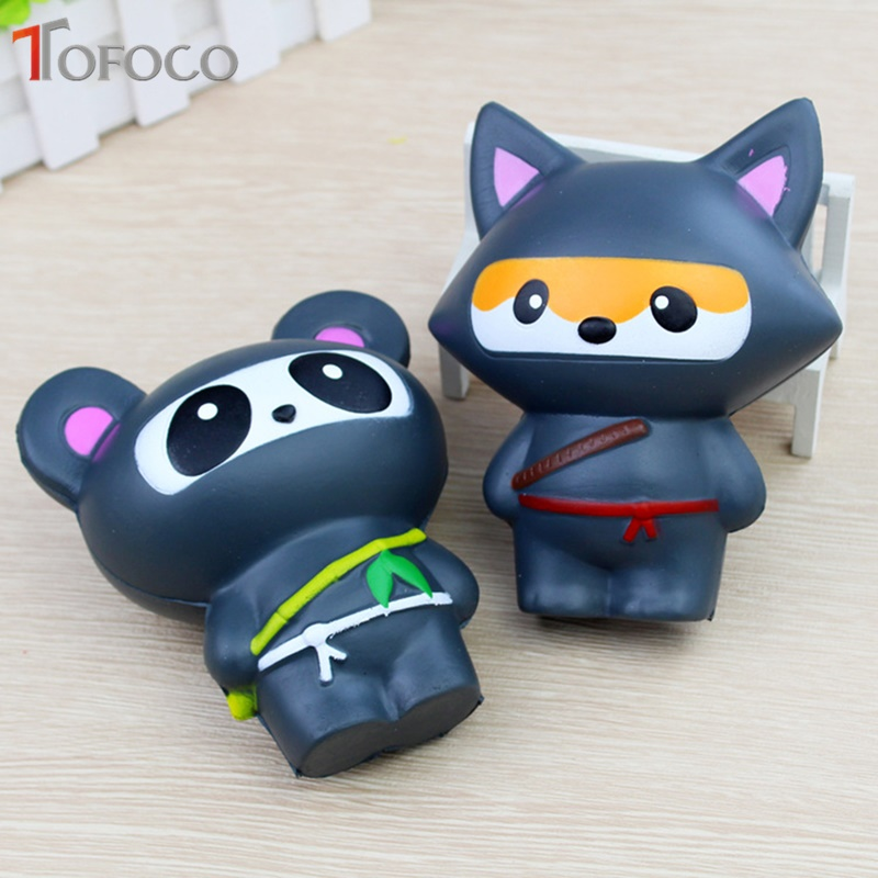 TOFOCO New 13cm Kawaii Ninja Fox/Panda Squishy Jumbo Slow Rising Toys Antistress Soft Decor Cake Squish Squeeze Scented Gadget