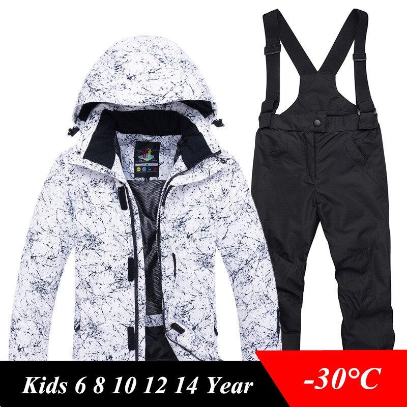 Enfants hiver Ski costume imperméable coupe-vent enfants Ski vestes et pantalons ensemble pour garçons filles 6 8 10 12 14 Snowboard vêtements