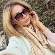 2017 New Fashion Big Frame Style Semi-Rimless Women Sunglasses