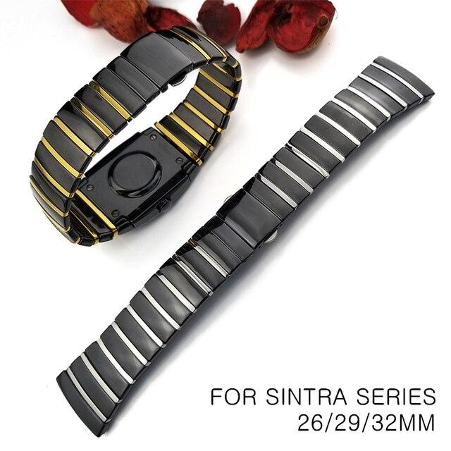 20mm 29mm 32mm cerâmica relógio de pulso banda para rado sintra série pulseira marca homem mulher preto