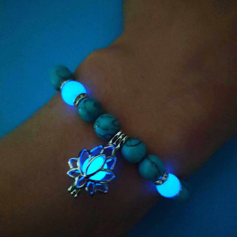 Natural Stones Luminous Glowing In The Dark Lotus Flower Shaped Charm Bracelet For Women Yoga Prayer Buddhism Jewelry