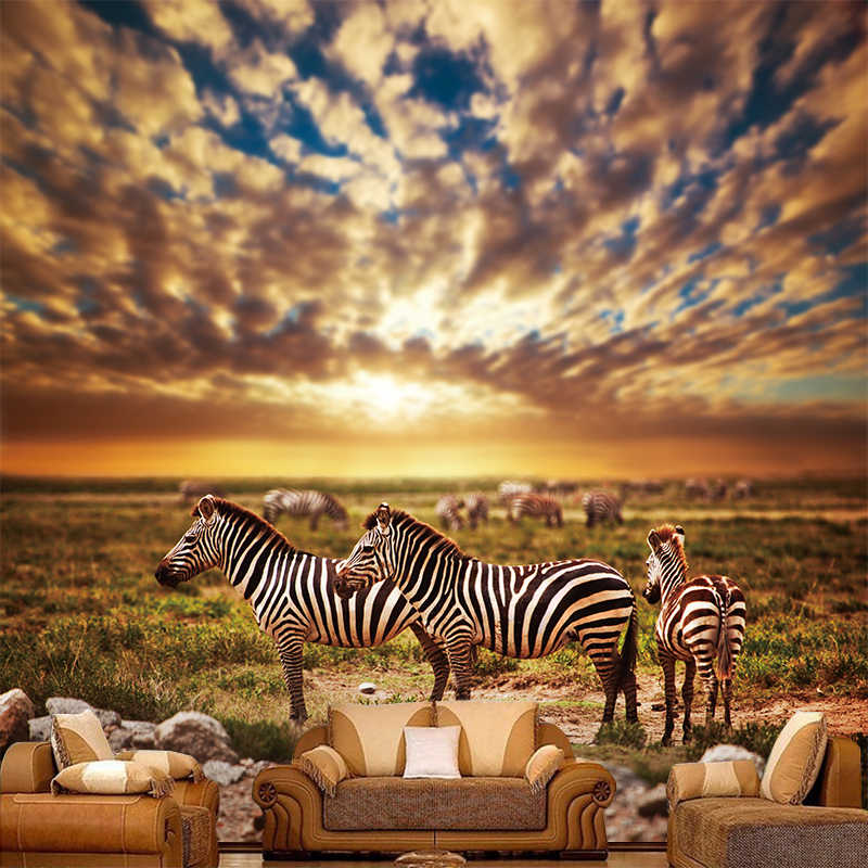 Custom Mural Hd High Definition Africa Grassland Zebra Canvas Background Wallpaper Photo Mural Wallpaper Living Room Home Decor