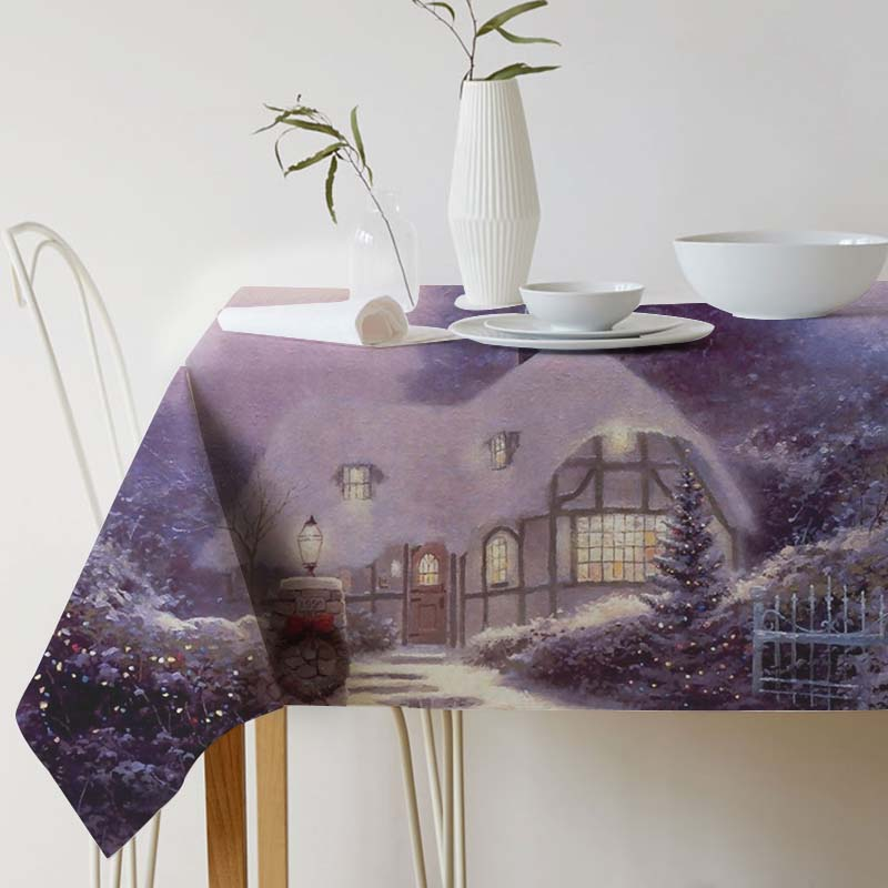 Cotton Linen Decorative Tablecloth Painting Art Thomas Kinkade for table table cloth Dining Table Cover For Kitchen Home Decor