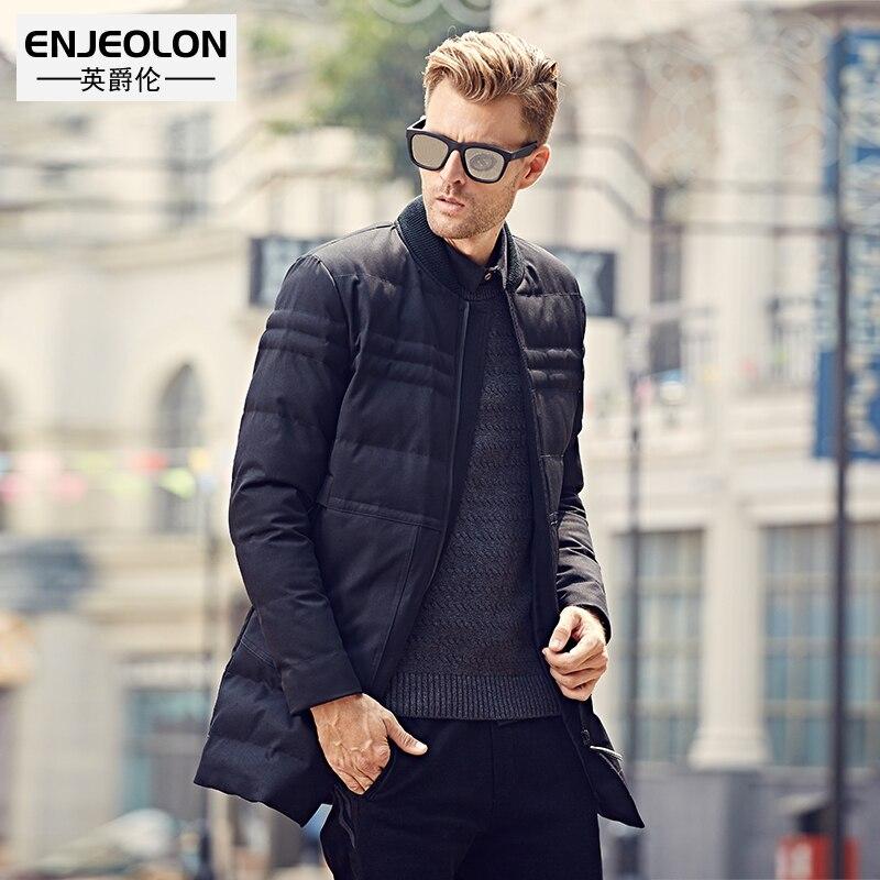 Enjeolon brand winter Cotton Padded Jacket Men warm   Parka   jacket for men Thick Quilted long Coat Men WT0248