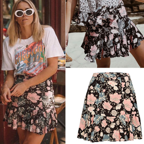 Fashion Women High Waist Floral Printed Short Skirts Summer Holiday Beach Skirts