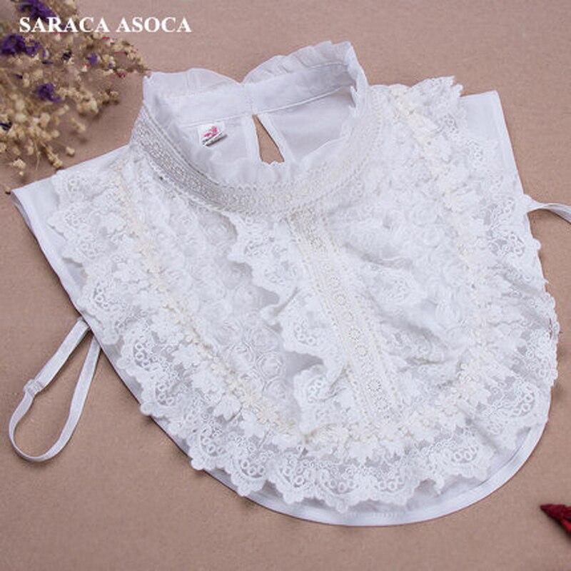 Новая мода ручной бриллиантами LCAE поддельные воротник Для женщин универсальные белый съемный рубашка Воротники дамы