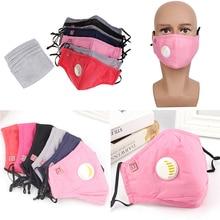 Дышащий хлопок PM2.5 фильтр Анти дымка Маска дыхательный клапан Анти-пыль рот маска Активированный уголь фильтр Респиратор маска лицо