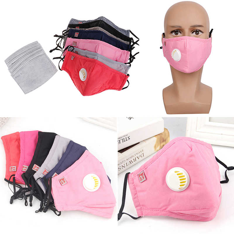 Breathable Cotton PM2.5 Filter หน้ากาก Haze Breath วาล์ว Anti - dust Mouth Mask Activated Carbon หน้ากากใบหน้า
