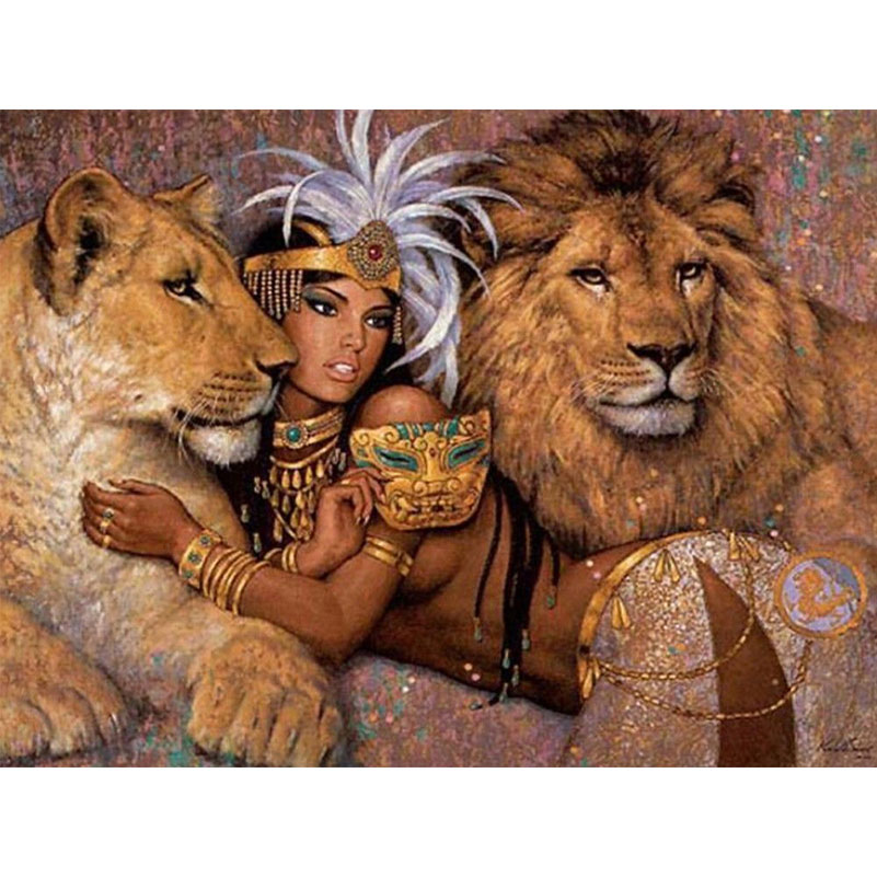 Needlework Embroidery Animals Diy Diamond Painting Sexy Indian Girl And Tiger Lion Full Square Rhinestones Puzzle Picture Crafts