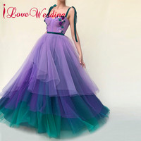 iLoveWedding 2018 Prom Dresses Sweetheart Spaghetti Straps Natural Waist Gardient Tulle Skirt Formal Dress Prom