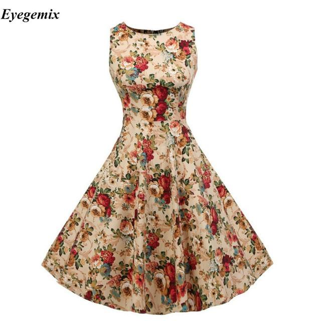 2a803b4d2d76 New 2018 Summer Dress Women Audrey Hepburn Vintage 50s 60s Club Party Dress  Casual Floral Print Retro Rockabilly Pinup Dresses