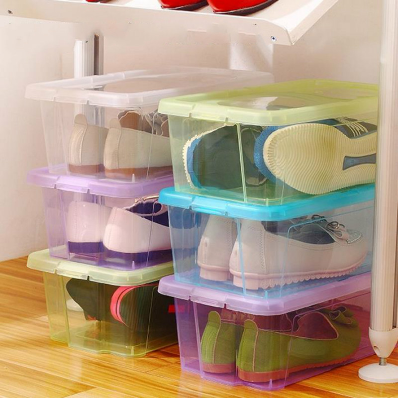 New High Quality Transparent Plastic Shoe Box Double Love Heart Thickened Storage PP material Organizer For Men And Women