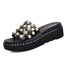 Wedges Heel Slippers Women Shoes Sexy Summer Black Open Toe Med Beautiful Rhinestone Slides YG-A0318