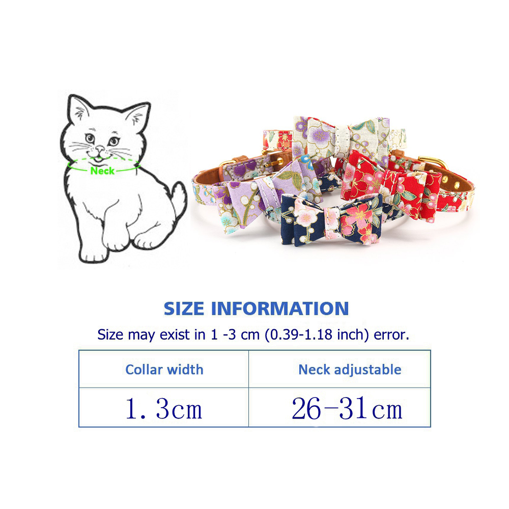 Cat Collar With Bell Dog Collar For Cats Solid Braid Kittens Pet Cat Collars Shiny Adjustable Collars For Cats Pet Lead Supplies (9-1)