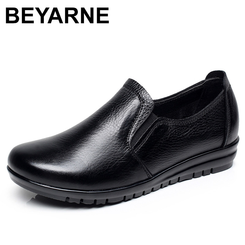 BEYARNE genuine leather women flats new women loafers comfortable soft bottom mother work shoes 2017 autumn and winter new plus velvet thick women s boots soft bottom comfortable breathable mother shoes wild leather