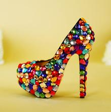 Sweet Colorful Crystal Wedding Shoes Bride Round Toe Slip-on High Heel Platform Pumps Women Shoes Real Photo Rhinestone Pumps light khaki dress shoes suede faux leather round toe pumps platform leopard high heels slip on women shoes real photo us14