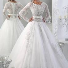 srui sker Elegant Wedding Dresses Long Sleeves Court Train