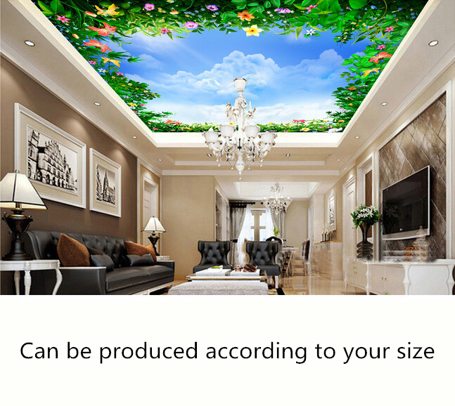 Custom ceiling wallpaper, blue sky and flowers murals for the living room bedroom ceiling wall waterproof papel de parede european church square ceiling frescoes murals living room bedroom study paper 3d wallpaper