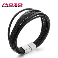 Fashion Jewelry 2016 Men Pulsera Handmade Multilayer Black Cowhide Leather Wrap Bracelets Stainless Steel Charm Bracelet