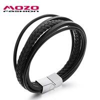 Fashion Jewelry 2016 Men Pulsera Handmade Multilayer Black Cowhide Leather Wrap Bracelets Stainless Steel Charm Bracelet