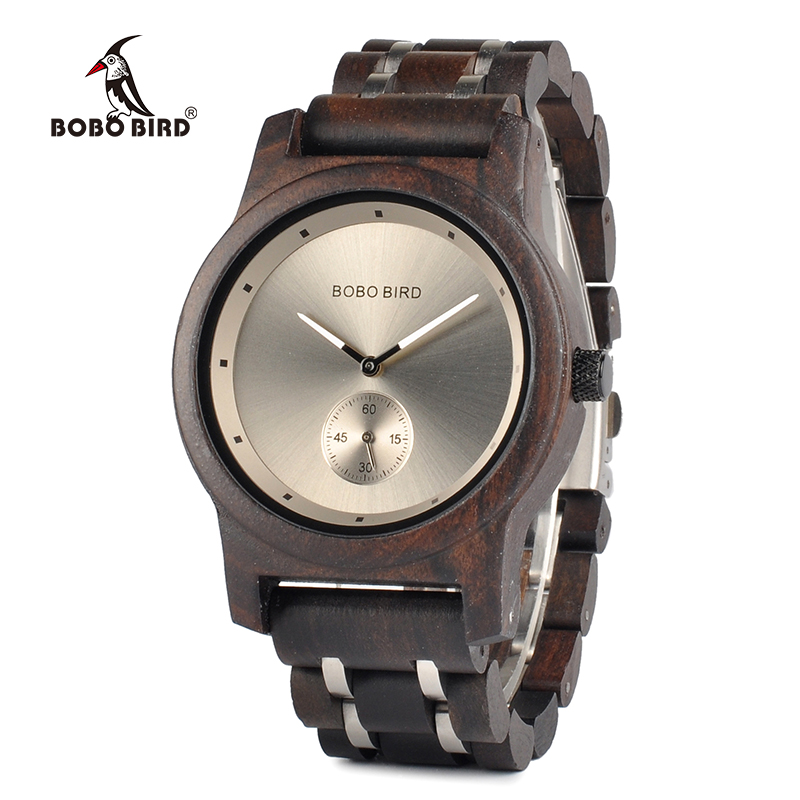 BOBO BIRD Wooden Watches Lovers Gifts Timepieces Luxury Wood Metal Strap Quartz Watch in Wooden Box