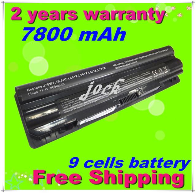 Jigu 9 células 7800 mah bateria para dell xps 14 xps 15 L401x L501x L502x L521x 17 L701x L702x laptop 3D frete grátis