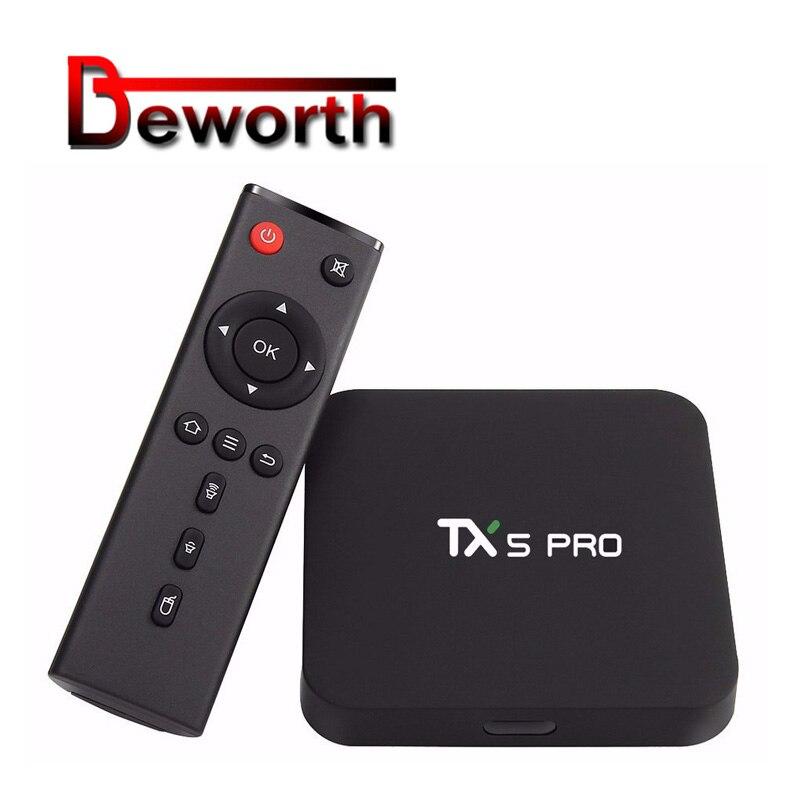 TX5 PRO Android 6.0 TV BOX Amlogic S905X Quad-core 2GB 16GB 3D H.265 VP9 HD 4K 2.4&5.8G Dual WIFI Smart Media Player Set Top BoxTX5 PRO Android 6.0 TV BOX Amlogic S905X Quad-core 2GB 16GB 3D H.265 VP9 HD 4K 2.4&5.8G Dual WIFI Smart Media Player Set Top Box