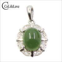 CoLife Jewelry Natural Green Jade Necklace Pendant 7mm*9mm Jade Silver Pendant Chinese Style 925 Silver Jade Jewelry