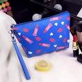 Estilo coreano Mujeres Necessaire Cosméticos Bolsas de maquillaje Bolsa de Viaje Organizador patrón Lápiz Labial y brillo de Labios Maleta de Maquiagem Maquillaje Bolsa