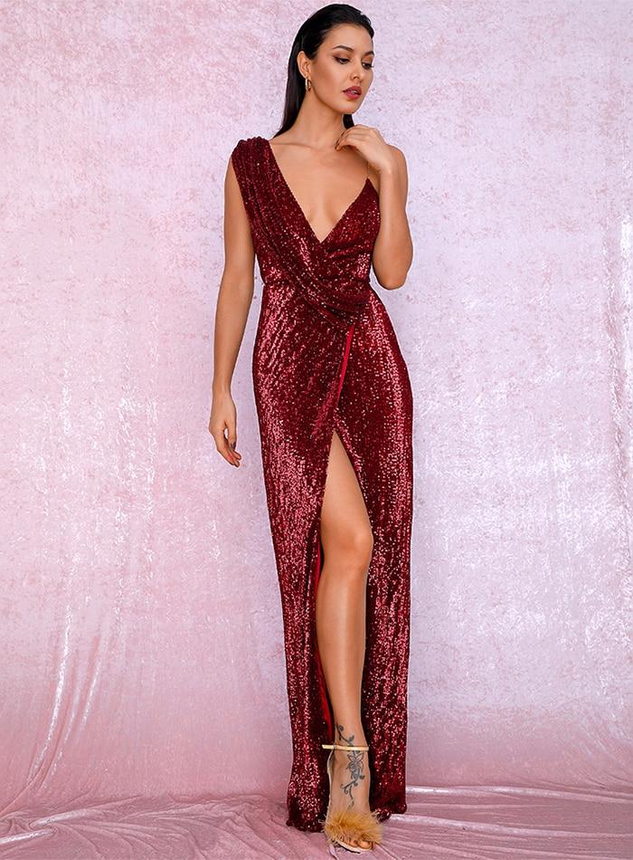 Sleeveless Red Floor Length Elegant Evening Dress 2