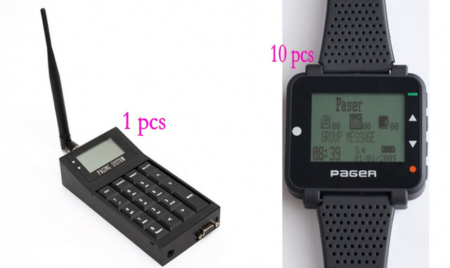 Free shipping!! Pocsag paging system, 1 transmitter, 10 wrist receivers, mobile watch, connect to computer, text message pager