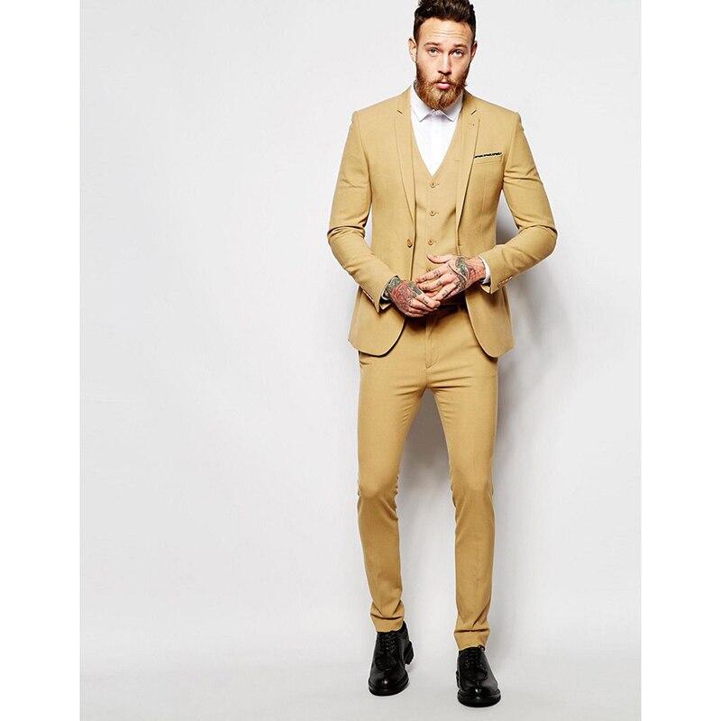 Handsome Yellow Men Suit 2017 Simple Fashion Groomsman Wedding Suits Best Mens Dinner Party Dress (Jacket+Pants+Vest+Tie)