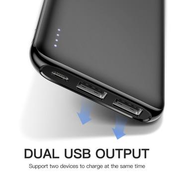 KUULAA Power Bank 10000 mAh Portable Charging Poverbank Dual USB Slim External Battery charger For Xiaomi Mi 8 9 iPhone 8 X XR 1
