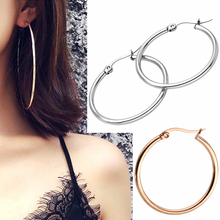 Fashion Golden/Silvery Hoop Earrings Large Ring Big Circle Smooth Simple Exaggeration Personality Wild