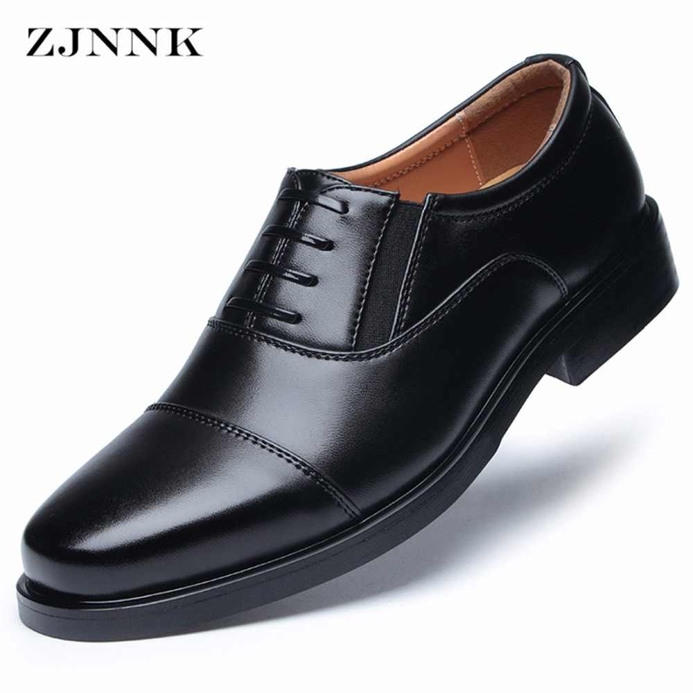 ZJNNK Men's Dress Shoes Square Toe Gentlemen Leather Shoes Trendy Business Style Slip On Fashion Men Shoes
