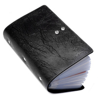 Fashion 96 Slots Men Business Cards Holders Genuine Leather Lightning Grain Buckle Capacity ID Credit Card