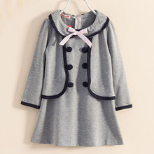 New 2017 Autumn Winter Baby&Kids Girl Dress Long Sleeve Double-breasted Bow Cute Preppy Style Faux 2 in 1 Casual Grils Dress