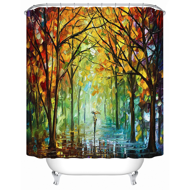European Style Painting Tree Bathroom Accessories Waterproof Shower Curtains Acceptable Personalized Custom Y 162