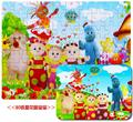 Candice guo wooden toy wood puzzle In The Night Garden pattern cartoon baby hand catch train game birthday gift 80pcs/ iron box
