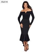 Zkess Women Sexy Off Shoulder Evening Long Dress Elegant Slash Neck Long Sleeve High Low Mermaid