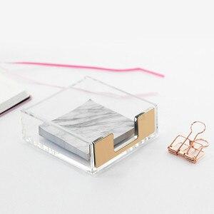Image 2 - Многофункциональная акриловая подставка для записей, креативная акриловая прозрачная настольная коробка для хранения, Офисная подставка