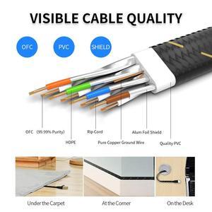 Image 5 - Câble Ethernet AMPCOM RJ45 Cat7 câble Lan STP RJ 45 câble réseau plat cordon de raccordement pour Modem, routeur, TV, tableau de connexions, PC, ordinateur portable