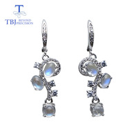 TBJ,100%Natural blue moonstone gemstone flower shape earring 925 sterling silver fine jewelry for woman anniversary best gift