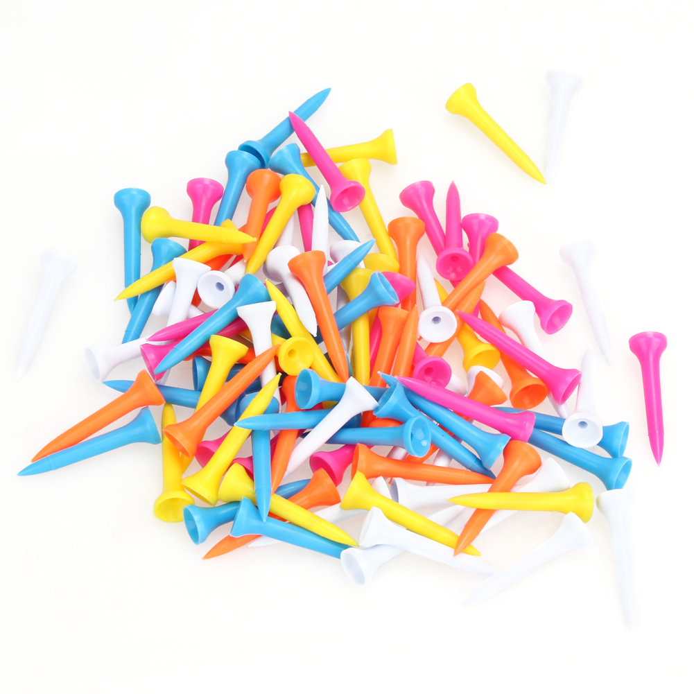 Golf Tools 100Pcs 42mm(1 2/3 Inch) Mixed Color Plastic Golf Tees Golf Accessories