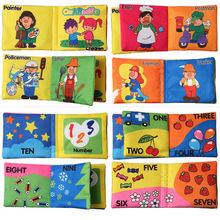 Baby Toys Soft Squeaky Cloth Book 8 Pages Early Learning & Education Cute Animals Book For Kids Infant Toys Brazil Free Shipping