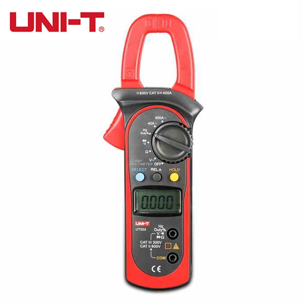 UNI-T UT203 Digital Multimeter Clamp Ohm DMM DC AC Current Voltage Meter Tester Voltmeter Ameter 400A uni t ut203 ut 203 digital clamp multimeter 3 3 4 ohm dmm dc ac current voltmeter 40a 400a