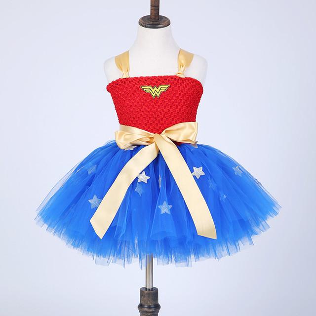 Bebê Tutu Menina Do verão Vestido De Mulher Maravilha Traje Vestidos Para Festa de Aniversário do Dia Das Bruxas Cosplay Superman Traje Vestidos de Partido Do Bebê
